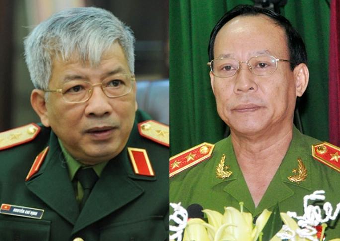 Thượng tướng Nguyễn Chí Vịnh (trái) và Thượng tướng Lê Quý Vương