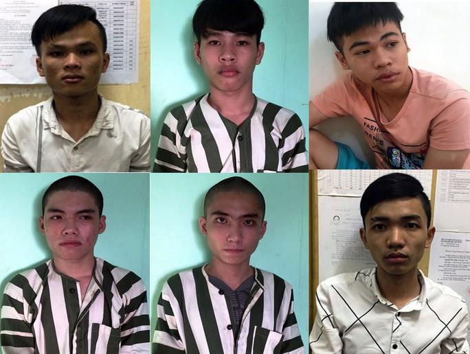 Khánh (bìa trái phía trên) và các đối tượng trong băng cướp bị lực lượng chức năng bắt giữ.