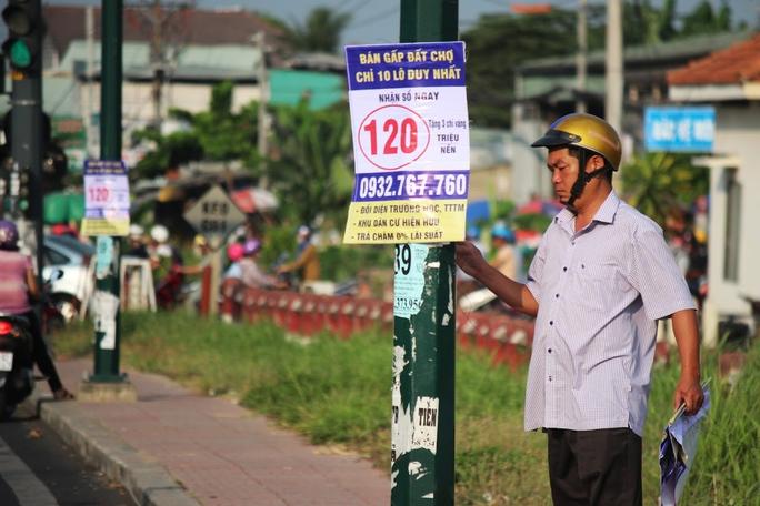 Cán bộ phường Hiệp Bình Chánh (quận Thủ Đức) vất vả tháo gỡ các tờ quảng cáo, rao vặt trên đại lộ Phạm Văn Đồng