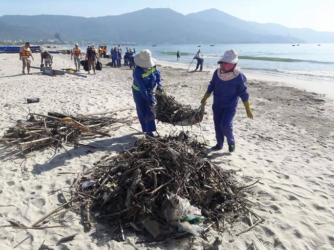 Đà Nẵng:  Hơn 30 tấn rác tấp vào bãi biển gây ô nhiễm nặng - Ảnh 2.