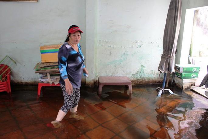 Nhà bà Trà Thị Thanh Hồng ngập từ tháng 10-2016 đến nay nước vẫn chưa rút. Cuộc sống quá khó khăn, mệt mõi vì nhà ngập nước nhiều tháng nay- bà Hồng nói.