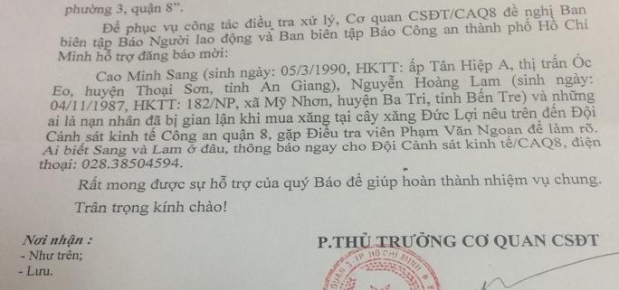 Công an phát lệnh truy tìm nhân viên cây xăng gian lận ở TP HCM - Ảnh 2.