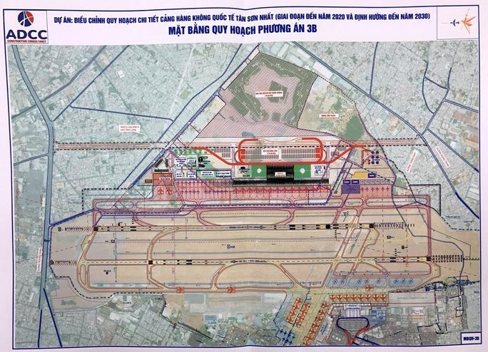 Nhóm phương án thứ 3 gồm 3 phương án, không xây mới đường cất hạ cánh, chỉ xây mới các nhà ga, sân đỗ, khu kỹ thuật ở phía Bắc, phía Nam và cả hai phía Bắc – Nam của sân bay