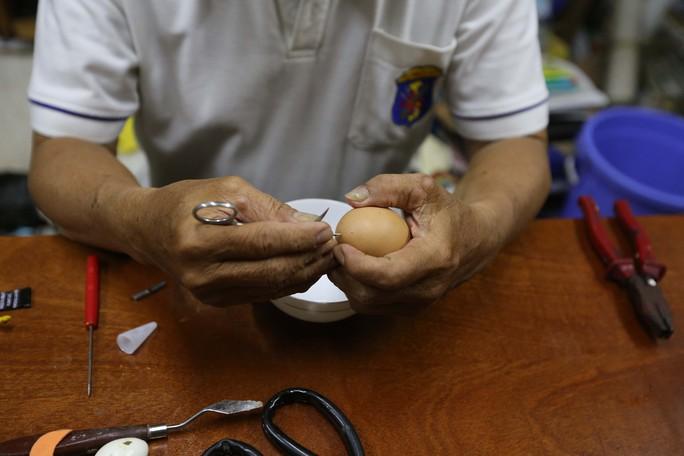 Các loại trứng vịt, gà, chim cút là phổ biến nhất trong công việc tạo hình của ông.