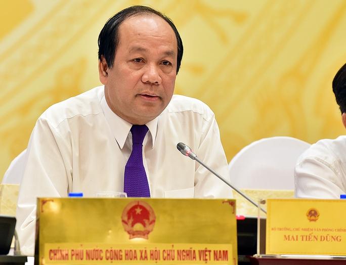 """Bộ trưởng, Chủ nhiệm VPCP cho biết Thủ tướng Nguyễn Xuân Phúc yêu cầu rà soát lại tất cả các nội dung đối với ông Nguyễn Minh Quang, Võ Kim Cự theo thẩm quyền, nếu có vấn đề sẽ xử lý theo quy định"""" – Ảnh: Thế Dũng"""