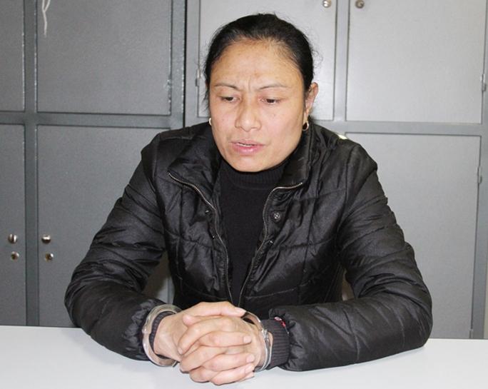 Đối tượng Trịnh Thị Dung tại cơ quan cảnh sát điều tra.