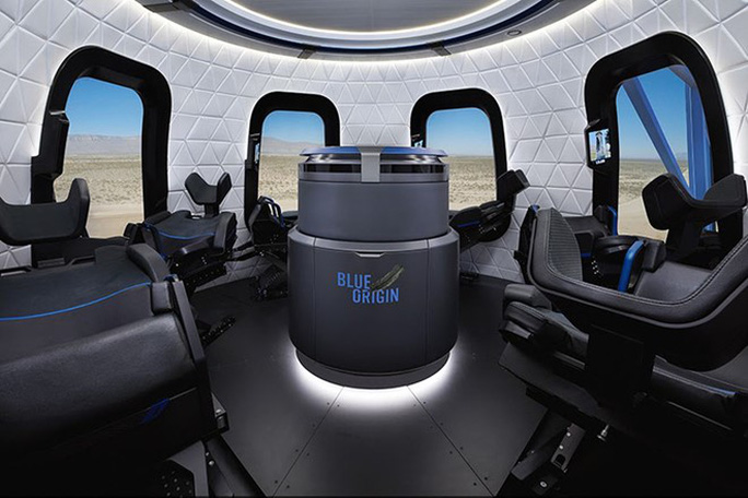 Nội thất bên trong tàu New Shepard. Ảnh: Blue Origin.