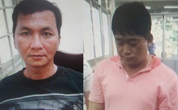 Hai đối tượng Trần Xuân Dũng và Trương Minh Thanh tại cơ quan Công an.