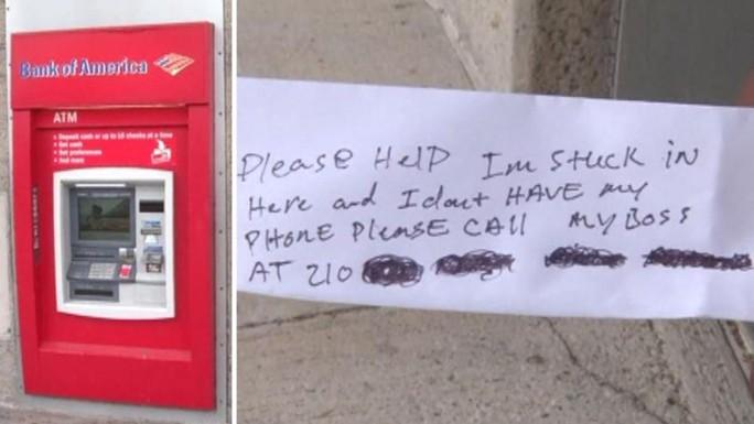 Kẹt cứng trong máy ATM, nghĩ ra cách cầu cứu độc chiêu - Ảnh 1.