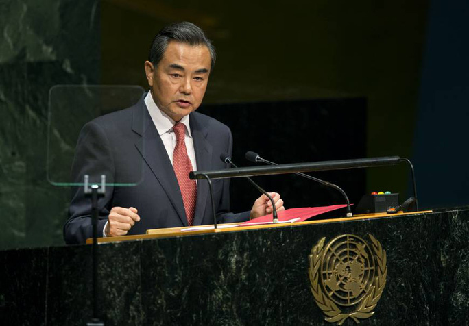 Bộ trưởng Ngoại giao Vương Nghị phát biểu tại Đại hội đồng Liên Hiệp Quốc. Ảnh: AP