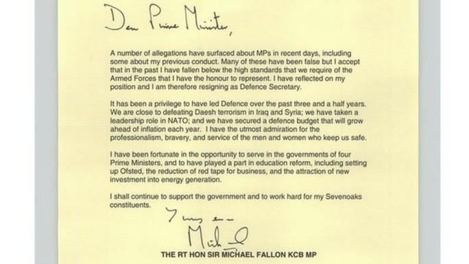 Đơn từ chức của ông Michael Fallon. Ảnh: BBC