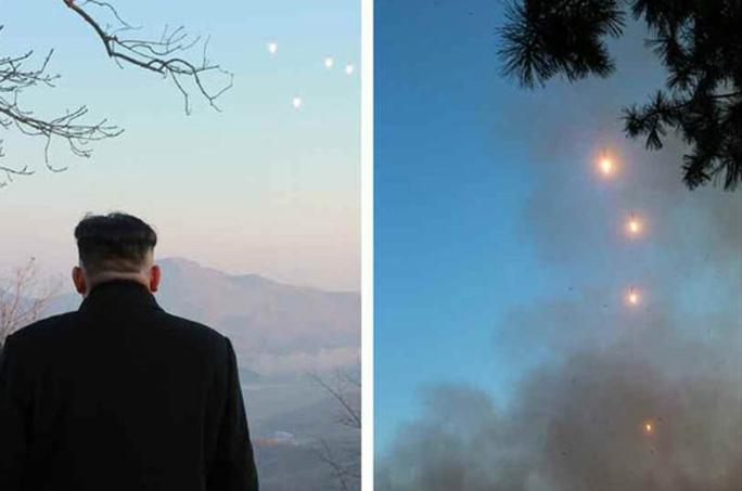 Nhà lãnh đạo Triều Tiên Kim Jong-un giám sát vụ phóng tên lửa. Ảnh: RODONG SINMUN