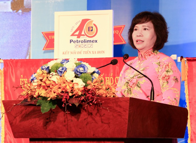Bà Hồ Thị Kim Thoa tại lễ kỷ niệm 40 năm thành lập Petrolimex Sài Gòn, vào năm 2015Ảnh: tư liệu