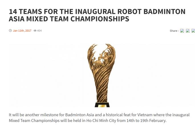 Thông tin về giải đấu hàng đầu châu lục được đăng tải trên website của Liên đoàn cầu lông châu Á