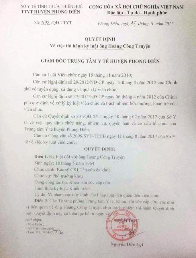 Sở Y tế Thừa Thiên - Huế chính thức xin lỗi BS Truyện - Ảnh 1.