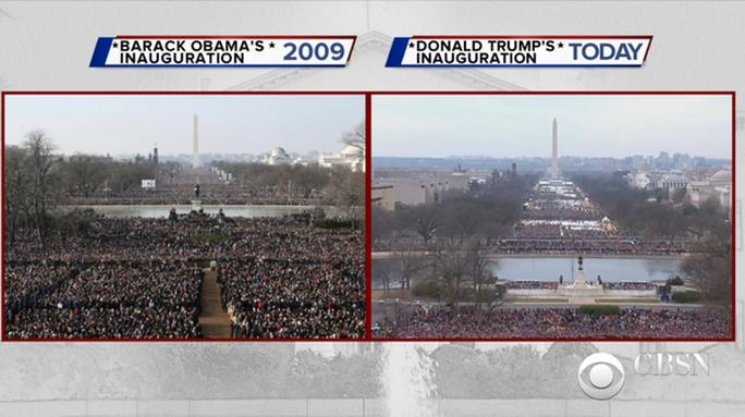 Có khá nhiều yếu tố khiến lễ nhậm chức của ông Trump (phải) không hút đám đông bằng lễ nhậm chức của ông Obama 8 năm trước. Ảnh: CBS News