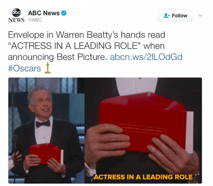 Bì thư mà Warren Beatty cầm ban đầu có dòng chữ Nữ diễn viên chính xuất sắc
