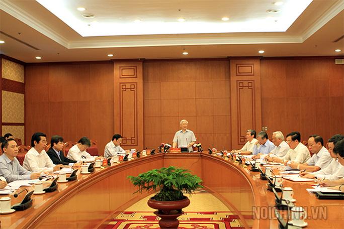 Tổng Bí thư Nguyễn Phú Trọng chủ trì cuộc họp Thường trực Ban Chỉ đạo Trung ương về phòng, chống tham nhũng ngày 17-4 vừa qua - Ảnh: Noichinh