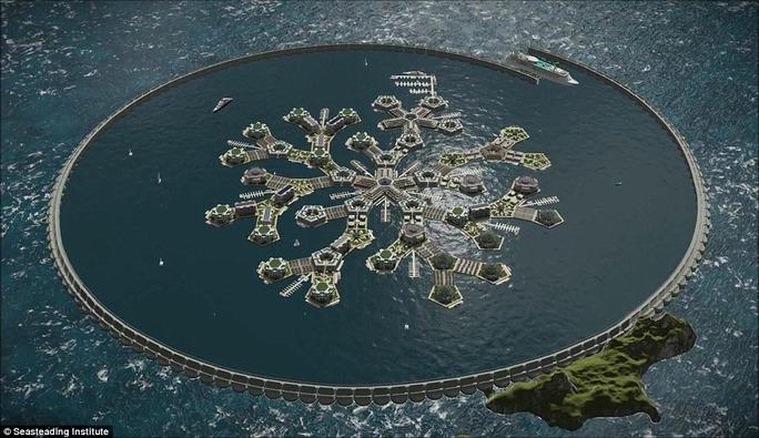 Mô hình thành phố nổi đầu tiên trên thế giới Ảnh: Viện Seasteading