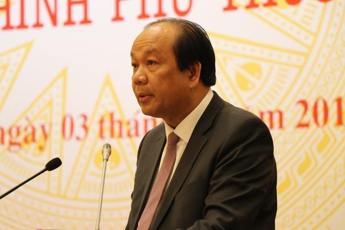 Bộ trưởng, Chủ nhiệm Văn phòng Chính phủ Mai Tiến Dũng tại cuộc họp báo thường kỳ Chính phủ tháng 1-2017