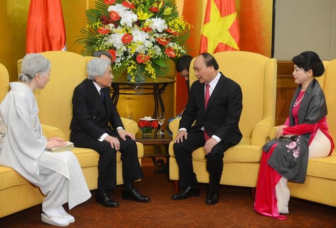 Thủ tướng Nguyễn Xuân Phúc và phu nhân hội kiến Nhà vua Akihito và Hoàng hậu Michiko - Ảnh: Nguyễn Anh Tuấn