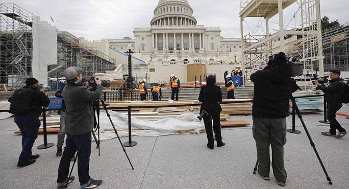 Nhà chức trách Mỹ chuẩn bị cho lễ tuyên thệ nhậm chức của tân tổng thống trong suốt nhiều tháng trời Ảnh: AP