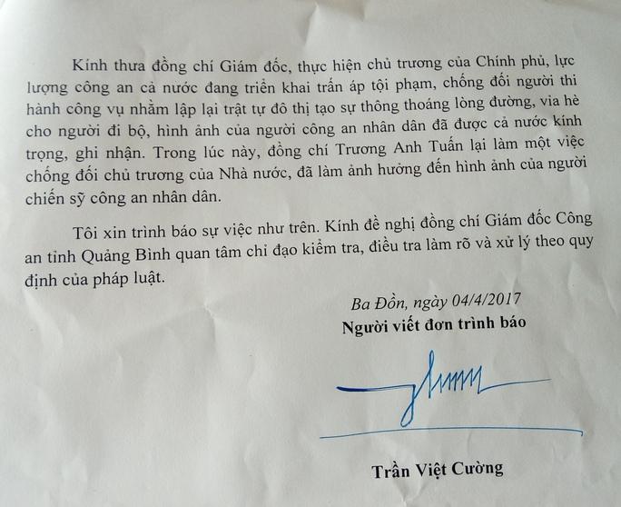 Đơn trình báo gửi giám đốc Công an Quảng Bình