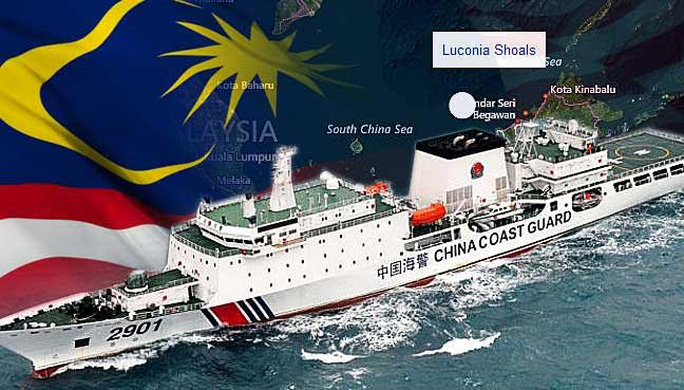 Tàu hải cảnh Trung Quốc tuần tra Cụm bãi cạn Luconia thuộc quyền sở hữu của Malaysia. Ảnh: Free Malaysia Today