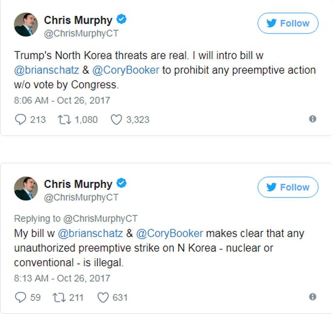 Đảng Dân chủ ngăn tổng thống Mỹ đánh phủ đầu Triều Tiên - Ảnh 1.