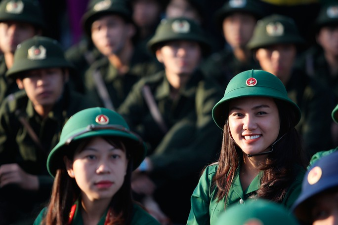 Những chiến sĩ trẻ tự tin trong buổi lễ giao nhận quân