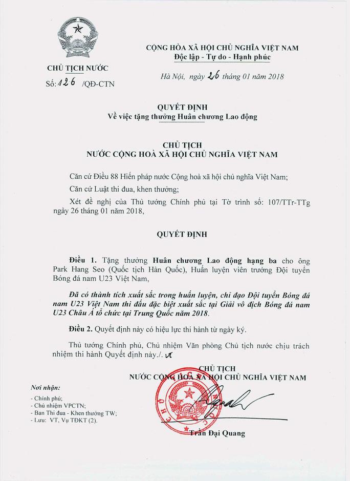 Chủ tịch nước tặng Huân chương Lao động cho U23 Việt Nam và 3 cá nhân - Ảnh 4.