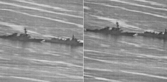 Lộ ảnh tàu Trung Quốc vượt đầu tàu Mỹ trên biển Đông - Ảnh 2.