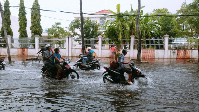 """Cà Mau: Đường biến thành """"sông"""" sau cơn mưa như trút nước - Ảnh 3."""