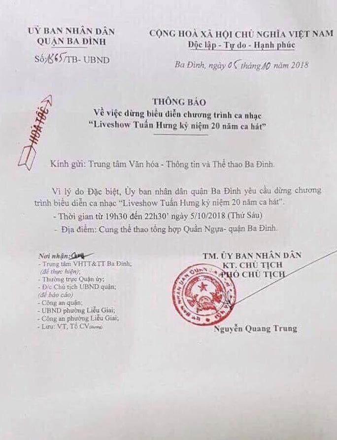 UBND quận Ba Đình cho biết lý do cấp bách dừng liveshow của Tuấn Hưng - Ảnh 2.