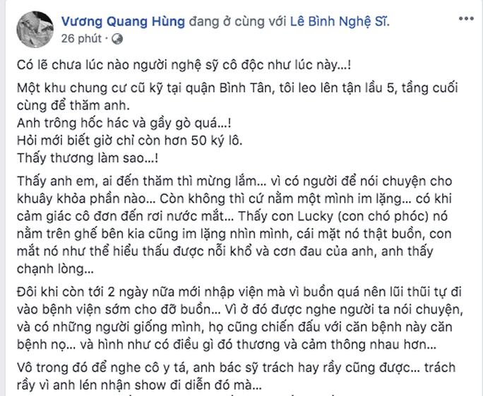 Nghệ sĩ Lê Bình cô độc chống chọi căn bệnh quái ác - Ảnh 2.
