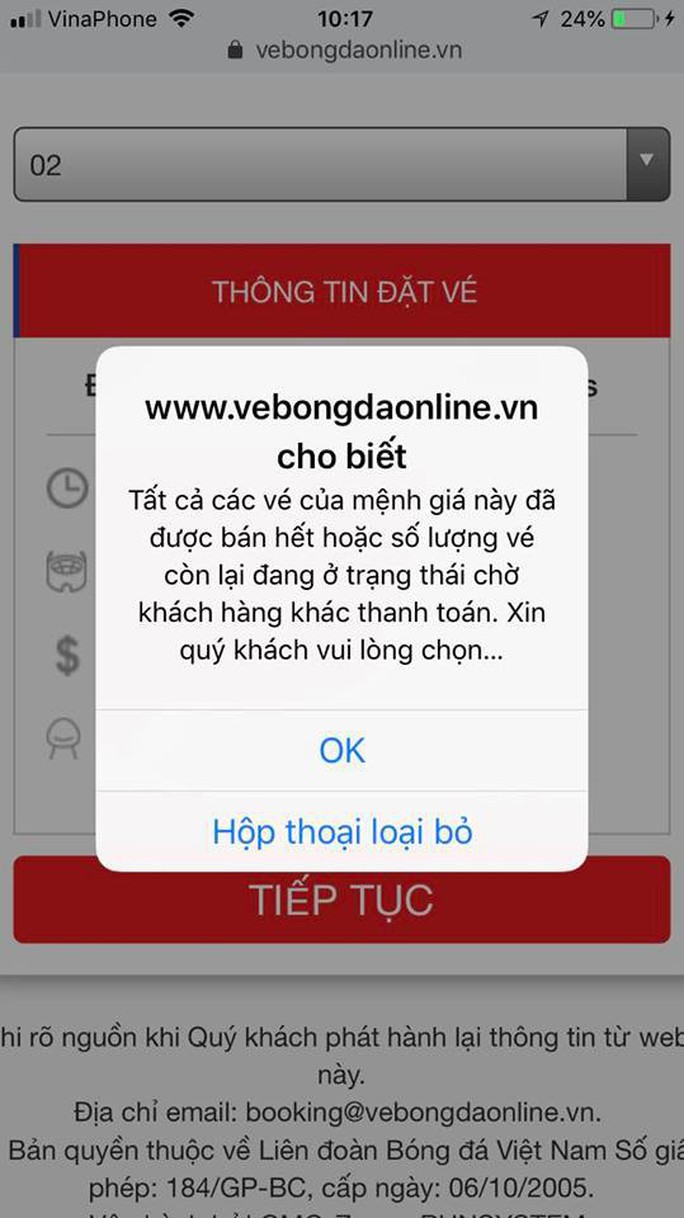 Hệ thống bán vé online trận Việt Nam - Philippines sập toàn tập sau vài phút mở bán - Ảnh 2.