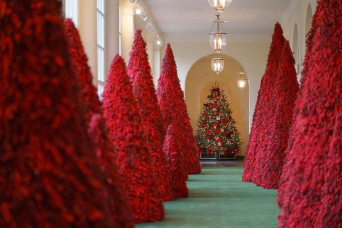 Bà Trump bị chỉ trích vì những cây thông Giáng sinh đỏ rực trong Nhà Trắng - Ảnh 2.