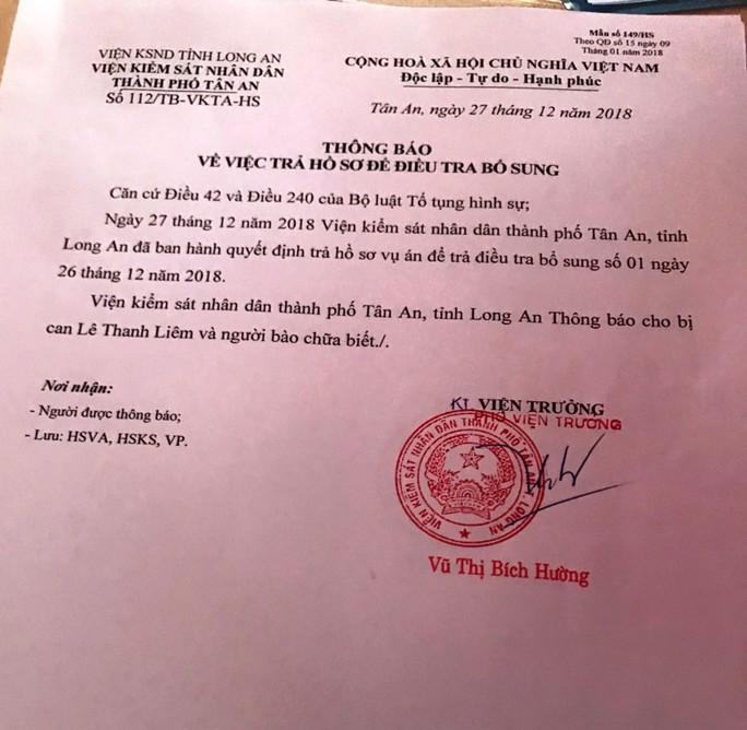 Trả hồ sơ lần 2 vụ cựu giám đốc Sở Y tế Long An kêu oan - Ảnh 1.