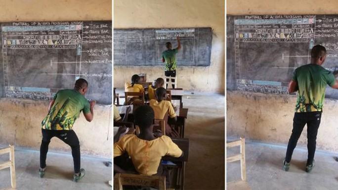 Thầy giáo dạy tin học bằng bảng phấn gây sốt - Ảnh 1.