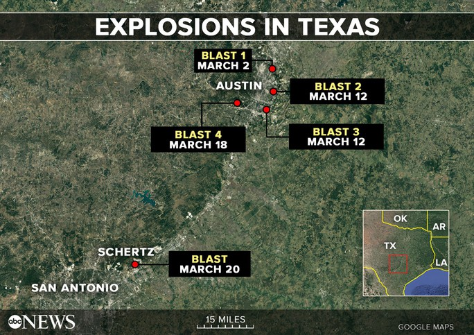 Nghi phạm vụ nổ bom hàng loạt ở Texas chết vì bom - Ảnh 2.