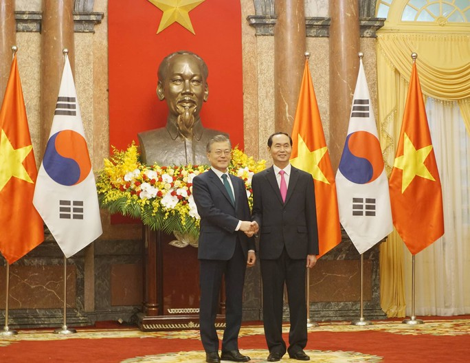 Cận cảnh lễ đón Tổng thống Hàn Quốc Moon Jae In tại Phủ chủ tịch - Ảnh 4.