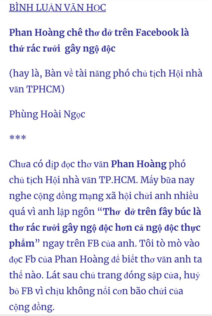 Nhà thơ Phan Hoàng từ chức sau sóng gió Ngộ độc thơ  - Ảnh 2.