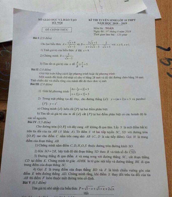 Vụ lọt đề thi văn, toán vào lớp 10: Xác định 1 giám thị chụp, chuyển ra ngoài - Ảnh 1.