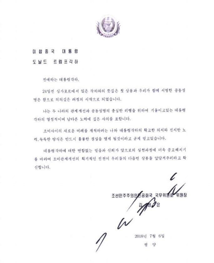 Tổng thống Trump khoe bức thư rất tuyệt từ ông Kim Jong-un - Ảnh 1.
