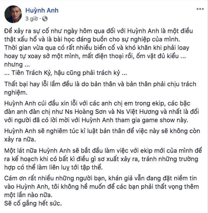 Huỳnh Anh cúi đầu xin lỗi Việt Hương - Ảnh 2.