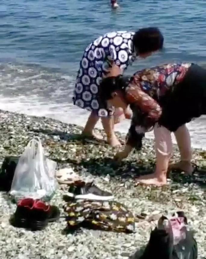 Bất chấp biển cấm, khách Trung Quốc lũ lượt nhặt sỏi quý tại bãi biển Nga - Ảnh 1.