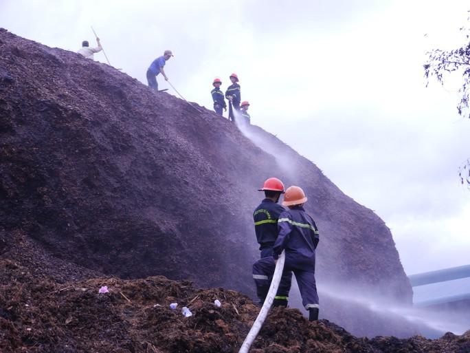 Bình Định: Hàng trăm người tham gia dập tắt đám cháy ở kho dăm gỗ - Ảnh 1.