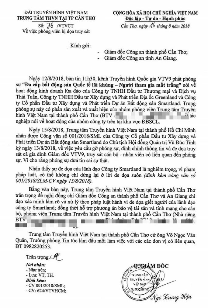 Vụ dọa truy sát nhân viên VTV9: Đề nghị Công an Cần Thơ, An Giang vào cuộc - Ảnh 1.