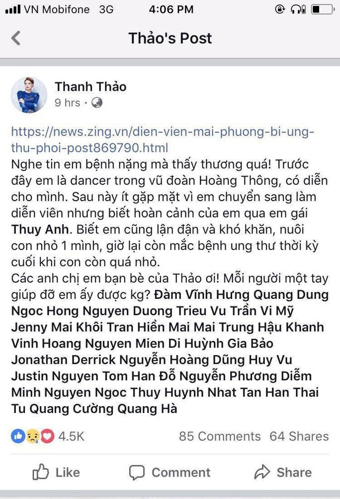 Nghệ sĩ xót xa, kêu gọi giúp diễn viên Mai Phương - Ảnh 1.