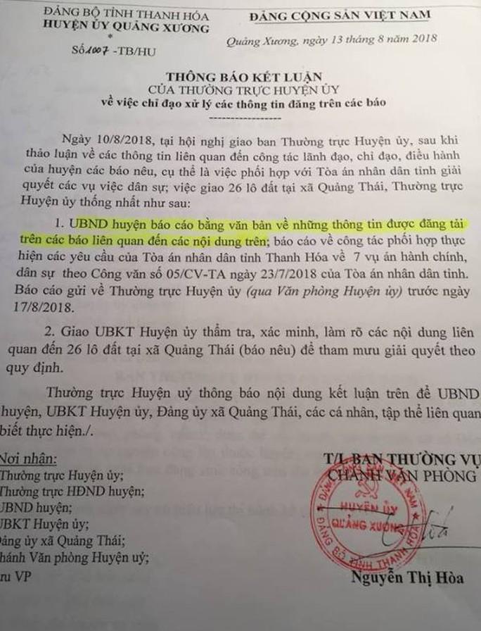 """Bí ẩn 26 lô đất cấp cho cán bộ ở Thanh Hóa: UBND """"phớt"""" chỉ đạo của Huyện ủy? - Ảnh 1."""